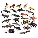 BOHS 24 PCS -Assorties d'Animaux Marins Créatures de la Vie Marine, océan, Collection de Figurines: Shark.Dolphin.Turtles.Crab etc.
