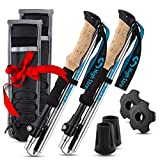 Foldable Hiking & Trekking Poles, 2 Lightweight Collapsible Walking Sticks, Adjustable Quick Lock Folding Poles With Backpacking Essentials Accessories Gift For Men And Women (100-120cm)