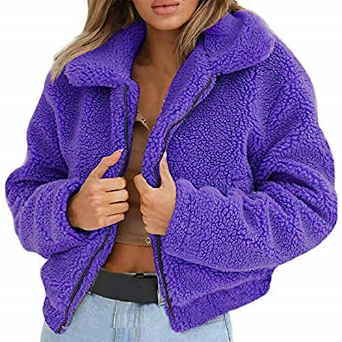 YULINGSTYLE Damen Pulli Winter Sweatjacke Dicke Einfarbig Fleece Mantel Warm Fleece Pullover übergrößen Teddyfleecejacke GrößEr Wintermantel Flauschjacke PlüSch Mantel Lila L