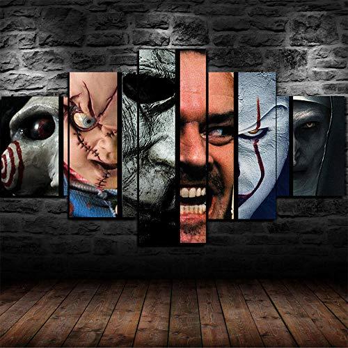 GMSM 5 Piezas Impresión Lona Pintura Lona Personaje de Miedo de la película de Terror Lienzo Arte de la Pared pósters e Impresiones Arte de la Pared Decoración de la habitación de los niños Cuadro