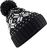 Neverless Strickmütze Herren Norweger Strick-Muster Bommel-Mütze Winter-Mütze Rippstrick schwarz-weiß Unisize