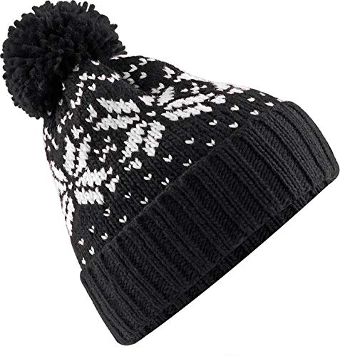 Neverless® Strickmütze Herren Norweger Strick-Muster Bommel-Mütze Winter-Mütze Rippstrick schwarz-weiß Unisize