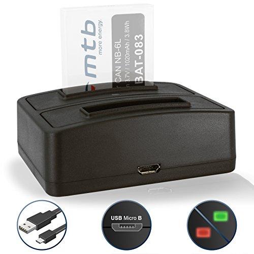 Cargador Doble (USB) NB-6L NB-6LH para Canon IXUS 85 IS… / Powershot D10 … / S95 … /...