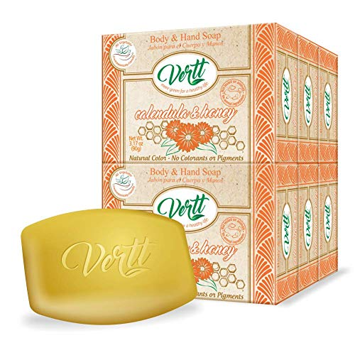 Vertt Natural soap bar - Vegan Hand soap, face wash soap or body wash soap. Gentle and moisturizing for your skin care. Organic soap men and women body wash. No Animal Testing | Pack of 6 soaps bars (Calendula & Honey)