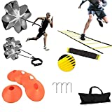 High Quality Agility Ladder Set;This sports training set includes an agility ladder, 5 round training cones, 1 resistance parachute, 4 metal stakes and a drawstring bag.parachute for speed training,parachute set,skills ladder set,speed bag,sports lad...