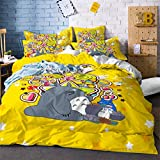 Cartoon Anime Totoro Cat Bedding Set Three-Piece Bed Linens Duvet Cover Bed Sheet Pillowcase Twin Full Bed Queen King Size (#7,Full) (#7,Full)
