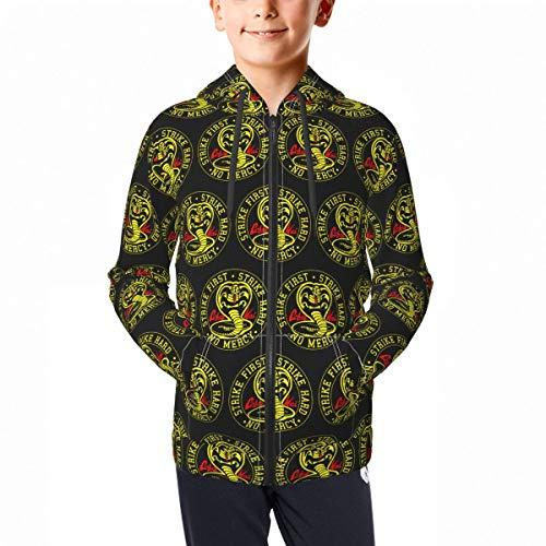 Unisex Teens Top Cobra-Kai Hoodies Sweatshirt Sport Jacket Zip Hooded for Youth Boys/Girls 7-8 Years