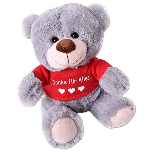 TE-Trend Teddybär Teddy Plüsch Bär Plüschteddybär Kuscheltier T-Shirt Spruchbär 25cm Geschenk Grau Danke für Alles