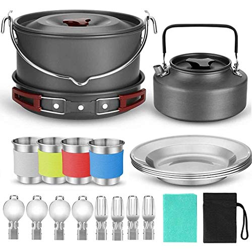 ATAI 22Pcs Camping Cookware Set for 4 People, Lightweight Camping Pots and Pans Set, Car Camping, Backpacking Trip