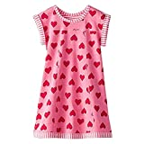 VIKITA Toddler Girls Dresses for Summer: Pink Heart Casual Short Sleeve Kid Girl Clothes MS0320 2-3 Year Old