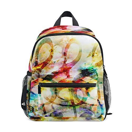 Preisvergleich Produktbild QMIN Kinder Rucksack Regenbogen Galaxie Noten,  kleine Kleinkind Vorschulschul-Schultertasche Reisetasche Elementar-Kindergarten Schultaschen für Mädchen Jungen Kinder