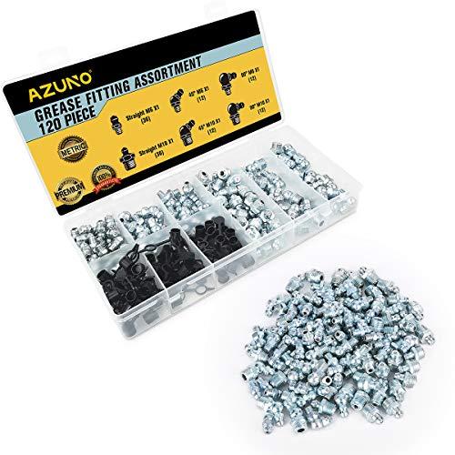 AZUNO Schmiernippel Kegelschmiernippel Fettnippel Sortiment, 120 Teile metrisch, gerade, 90 Grad, 45 Grad abgewinkelt M6 M10