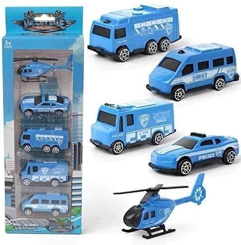 Kikioo Friccion coche es un regalo de cumpleaños for los niños Niño Niña 3 años en adelante Boy de coches de juguete (5 Piezas) -mini del coche de bomberos, vehículo militar, policía de coches de jugu