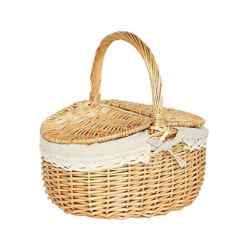 Cesta cesta de almacenamiento de estilo nórdico tejida a mano / con asa cesta de picnic al aire libre cesta de compras redonda cesta de picnic de mimbre cesta de huevos cesta de frutas - 38*28*20 cm