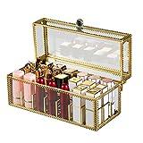 househome 24 Asientos Impresionante Vanity Lipstick Holder Glass Glossy Eyeliner Vanity Cabinet Organizador de Maquillaje Sin Polvo con particiones extraíbles