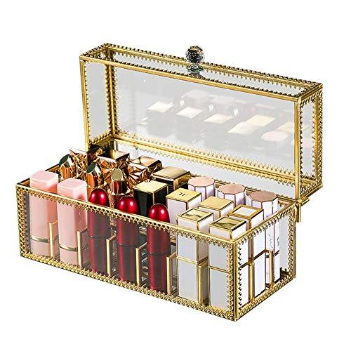 Sue-Supply Makeup Organizer, Atemberaubende Vanity Lippenstifthalter Staubfreies Glas Transparent Lipgloss Eyeliner Vanity Cabinet Makeup Organizer Mit Abnehmbaren Trennwänden, 24 Grid