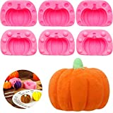 3 Pairs 3D Pumpkin Candy Mold Mini Pumpkin Silicone Mold Halloween Easy Release Chocolate Jelly Molds for Halloween Thanksgiving Christmas Candy, Baking, Cake Decoration, Soap Making, Chocolate, Clay