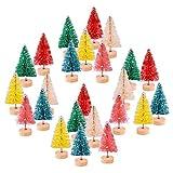 KUUQA 24 Jian Mini Colorido árbol de Navidad Xueshuang sisal Modelo Mini Botella Cepillo de Nieve del Invierno del árbol de Pino Decorado con manteles árbol de Navidad Decorado