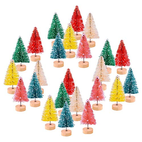 KUUQA 24 Pcs Multicolor Mini Snow Frosted Trees Sisal Trees Mini Christmas Trees Bottle Brush Trees Pine Trees Winter Snow Ornaments Tabletop Trees for Christmas Decor Diorama Models (6 Colors)