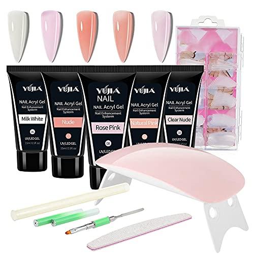 Anself Gel Nail Kit, 15 ml * 5 Colores Gel de Extensión de Uñas Lámpara de Uñas UV 100 Uñas Lima de Uñas Cepillo de Manicura