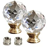 INVESCH 2-Pack Clear Faceted Crystal Lamp Finial