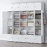 YOZO Cube Storage Organzier Portable Closet Wardrobe Bedroom Dresser (71x14x71 inches) Portable Closet Cube Shelf Armoire Pantry Cabinet, 25 Cubes, White