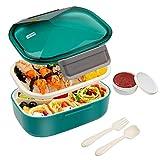 BIBURY Bento Boxen, Auslaufsichere Brotdose Kinder und Erwachsene, Lunch Boxen mit Besteck, Joghurtbecher und 4 Fächern, Lebensmittelbehälter BPA-Frei, Mikrowellen und Spülmaschinenfest, 1.7L (Grün)