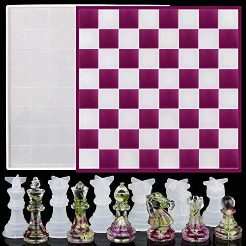DJDL Schachbrett Silikonform DIY Epoxy Gussform, Große Checker Board Epoxy Gussform mit 6 Pcs 3D Schach Stück Silikon Formen für DIY Kunst Handwerk schmuck Machen, Familie Bord Spiele