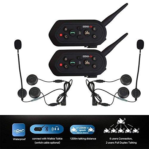 E6 (bolsa doble) BT 1200M Bluetooth Casco de Moto Intercomunicador Auriculares para MP3 GPS Radio FM Walkie-Talkie Resistente al agua intercomunicador de moto auriculares conectar hasta 6 conductores