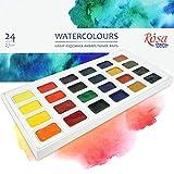 Krevo Art 24 colores de acuarela, juego de acuarela, acuarela, colores artísticos en toda la bandeja, fuerte pigmentación, colores intensos, capas de color, degradado, resistente a la luz.