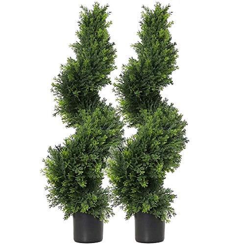 momoplant Buchsbaum-Formschnitt-Baum, künstlicher Formschnitt; Spiral-Zypresse; künstlicher Formschnitt; Buchsbaum; künstlicher Buchsbaum; künstlicher Ceder-Baum; Set von 2 (90 cm)