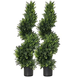 35 inch/2.95 ft Artificial Cypress Topiary Trees Artificial Cedar Cypress Trees Faux Cypress Spiral Silk Trees Boxwood Topiary Artificial Trees,Artificial Cypress Leave Spiral Trees,Set of 2