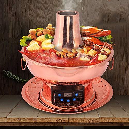 51pSwppIovL - Lamyanran Fondue-Fritteusen Chinese Traditional Old Beijing Charcoal Hot Pot, Küchenzubehör, Herd mit Remote-Bedienung (34 cm Durchmesser, rotes Kupfer)