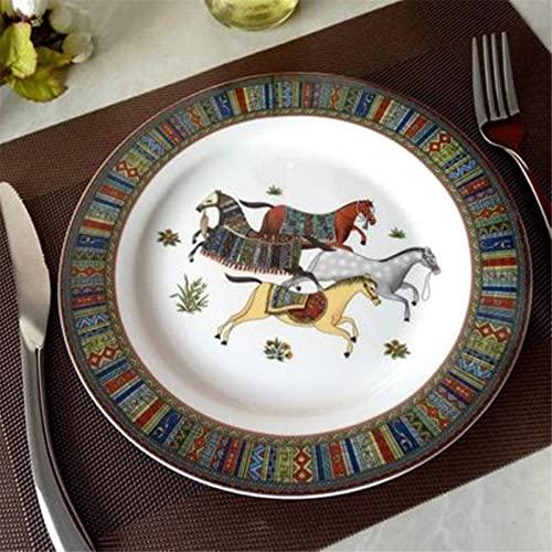 ZRB Juego de Platos, Conjuntos de Cena de cerámica Cena de cerámica Cena Conjunto de Porcelana Inlay Inlay Pasta Placa Ensalada Snack Placas Placas Placas Vajilla, Plato de 10 Pulgadas