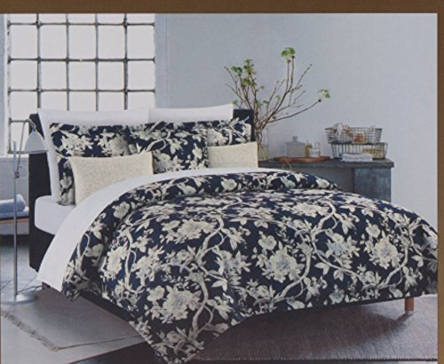 Nicole Miller King Duvet Cover Set 3 pc Floral Vines Jacobean Bohemian Blue White Lavendar 300 Thread Count Cotton Bedding