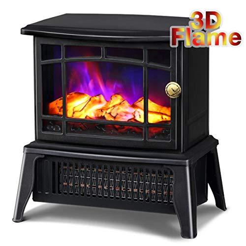 YYBF Elektrische Heizung, Mit Realistischer Flamme, 2 Heizstufen 1000-1500 W, Stand-Elektro Kamin Indoor-Heizung,Schwarz