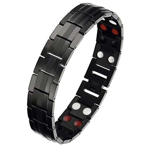 Refined Man's Black Titanium Energy Therapy Bracelet, Strong Magnets Free Link Removal Kit