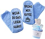 Geschenk für Frauen, WENN DU DAS LESEN KANNST BRING MIR KAFFEE SOCKEN, Muttertags-Geschenk, witziges Geburtstagsgeschenk für Fre&in, Schwester (Blau-Kaffee)