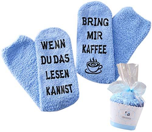 Geschenk für Frauen, WENN DU DAS LESEN KANNST BRING MIR WEIN/KAFFEE SOCKEN, Muttertags-Geschenk, Geburtstagsgeschenk für Freundin, Schwester, witziges Wein-Zubehör (Blau-Kaffee)
