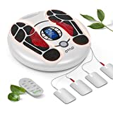 Foot Circulation Stimulator,EMS and TENS Foot Massager Machine Medical Pulse Massager for Circulation Pain relief 4 Electrode Gel pads Relaxes Body with Tens Unit