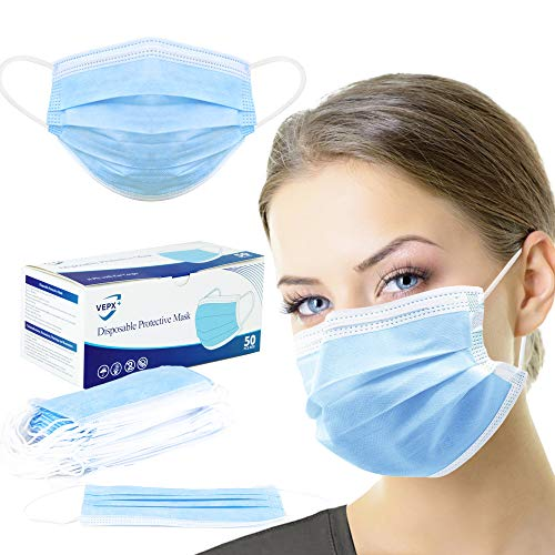 SG SUGU 50 Pcs Disposable 3 Ply Safety Face Mask for Protection - With Non-woven Melt-blown Fabric Elastic Ear-loops and Nose Clip, Breathable Protective Anti-Dust Facial Masks Health Blue x50