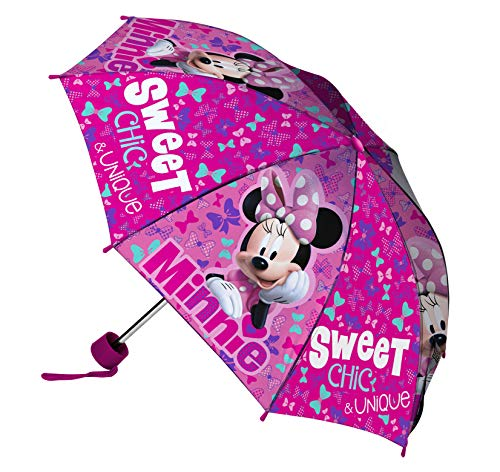 Disney Minnie Ombrello Pieghevole, Bambina, Multicolore
