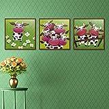 DCLZYF Estilo nórdico Abstracto Animal Ganado Vaca Dibujos Animados Abstracto Lienzo Pintura Bufanda Cocina decoración del hogar-40x40cmx3 (sin Marco)