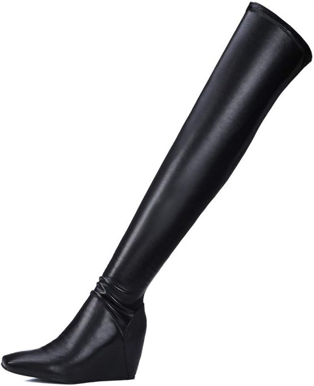 Damen Oberschenkel Hoch Keil-stiefel Hoher Absatz Damen Stretch Winter Beilaufig Hohe Stiefel Overknees Stiefeletten