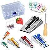 LNKA Single Double Fold Bias Tape Maker Tool Set 6MM 9MM 12MM 18MM 25MM 50MM Fabric Bias Tape Maker Tools 6 Sizes DIY Sewing Bias Tape Makers with Nice Case for DIY Quilt Binding