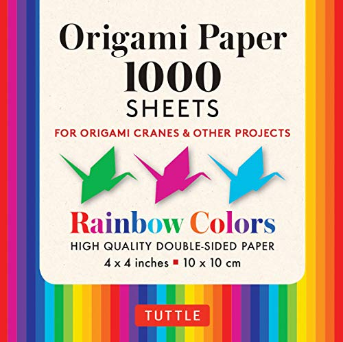 """Origami Paper Rainbow Colors 1,000 sheets 4"""" (10 cm): Tuttle Origami Paper: High-Quality Double-Sided Origami Sheets Printed with 12 Different Color ... (Instructions for Origami Crane Included)"""