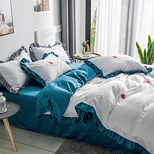 juego de funda nórdica cama 90,Cubierta de seda de cuatro piezas de seda de seda de hielo de la princesa Bordado de la seda de la seda de la seda Ropa de cama de la cama de la seda, la hoja de satén
