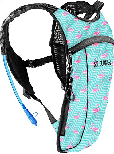 Sojourner Rave Hydration Pack Backpack  2L Water Bladder Included for Festivals Raves Hiking Biking Climbing Running and More Small Flamingo