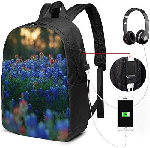 Planten Bloemen Natuur Blauw Rood Waterdichte Laptop Rugzak met USB Opladen Poort Hoofdtelefoon Past 17 Inch Laptop Computer Rugzakken Reizen Dagtas School Tassen voor Mannen Vrouwen