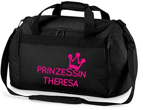 personalisierte Sporttasche mit Namen | Motiv Krone Mini Prinzessin | inkl. NAMENSDRUCK | mittelgroße Reise-Tasche für Kinder & Mädchen | in Wunschfarben Bedrucken & Personalisieren